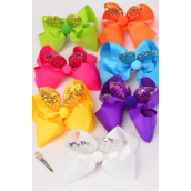 """Hair Bow Jumbo Bunny Ear Mermaid Sequin Fabric 2 Tone Reversible Dragon Shiny Scale Grosgrain Bowtie Pastel/DZ **Pastel** Alligator Clip,Size-6""""x 6"""" Wide,2 White,2 Pink,2 Blue,2 Yellow,2 Lavender,1 Hot Pink,1 Mint Green,7 Color Asst,Clip Strip & UPC Code"""