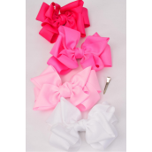 """Hair Bow Cheer Type Bow Double Layer Pink Mix Grosgrain Bow-tie/DZ **Pink Mix** Size-8""""x 7"""" Wide,Alligator Clip,3 of each Color Asst,Clip Strip & UPC Code"""