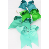 "Hair Bow Extra Jumbo Long Tail Cheer Type Bow Green Mix Grosgrain Bow-tie/DZ **Green Mix** Alligator Clip,Size-6.5x 6"" Wide,3 of each Color Asst,Clear Strip & UPC Code"