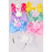 """Hair Bow Jumbo Bunny Ear Mermaid Sequin Fabric 2 Tone Reversible Dragon Shiny Scale Grosgrain Bowtie Pastel/DZ **Pastel** Size-6""""x 5"""",Alligator Clip,2 White,2 Baby Pink,2 Lavender,2 Blue,2 Yellow,1 Hot Pink,1 Mint Green,7 Color Asst,Clip Strip & UPC Code"""