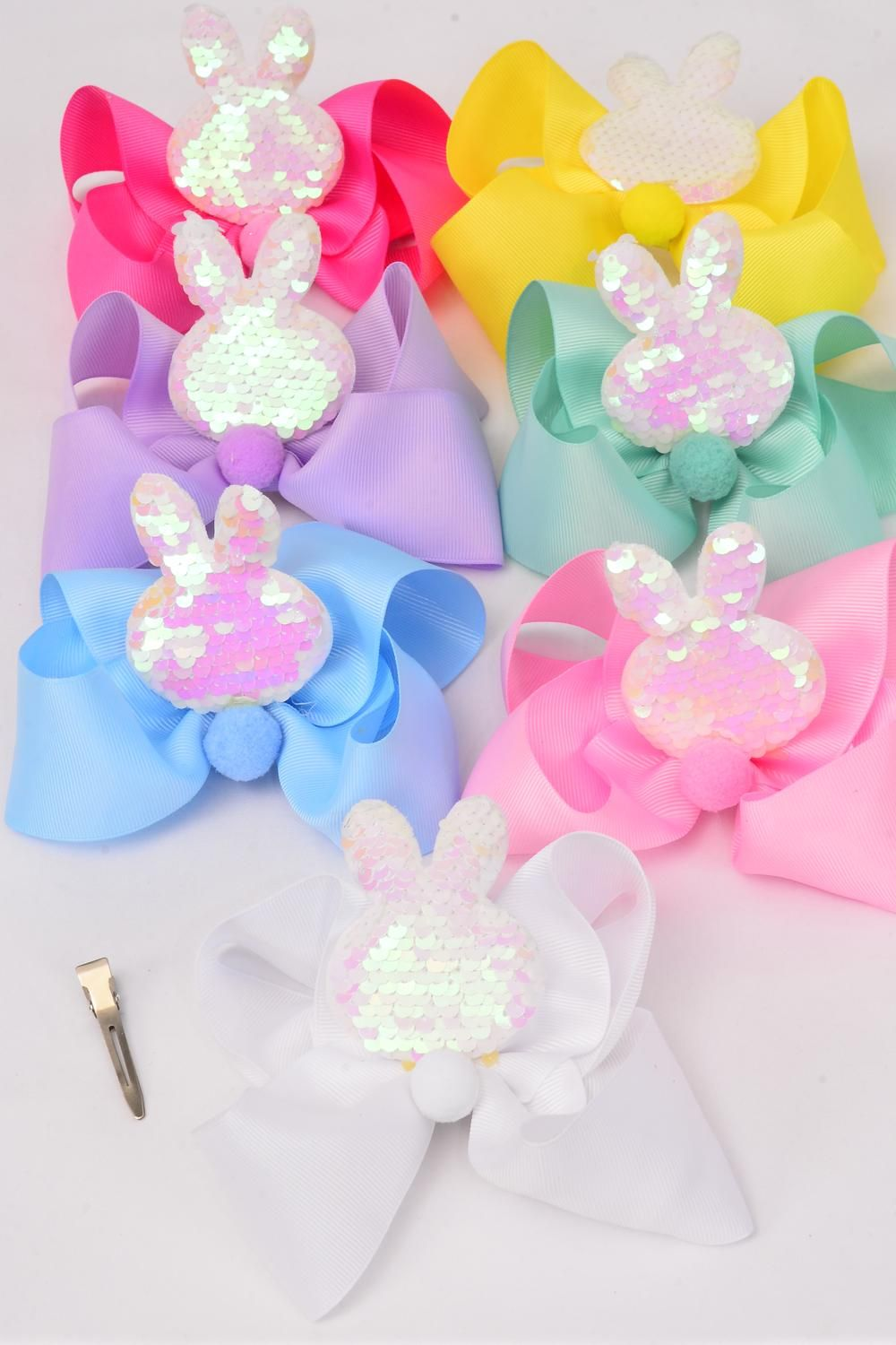 "Hair Bow Jumbo Bunny Ear Mermaid Sequin Fabric 2 Tone Reversible Dragon Shiny Scale Grosgrain Bowtie Pastel/DZ **Pastel** Size-6""x 5"",Alligator Clip,2 White,2 Baby Pink,2 Lavender,2 Blue,2 Yellow,1 Hot Pink,1 Mint Green,7 Color Asst,Clip Strip & UPC Code"