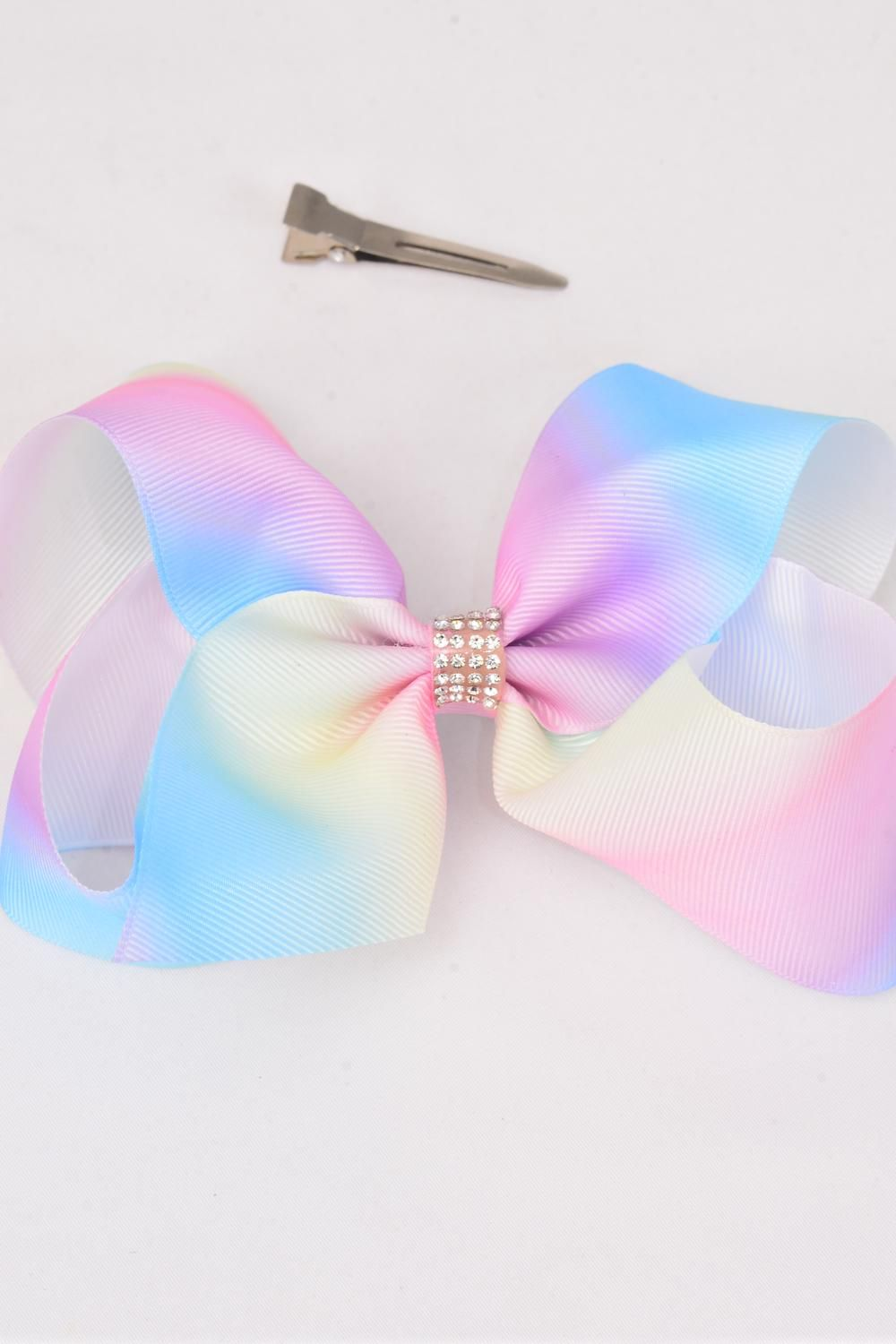 "Hair Bow Jumbo Tiedye Center Clear Stones Grosgrain Bow-tie Pastel/DZ **Pastel** Alligator Clip,Size-6""x 5"" Wide,Clip Strip & UPC Code"