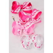 """Hair Bow Extra Jumbo Flamingos Grosgrain Bow-tie Pink Mix/DZ **Pink Mix** Size-6""""x 5"""" Wide,Alligator Clip,3 of each Color Mix,Clip Strip & UPC Code"""
