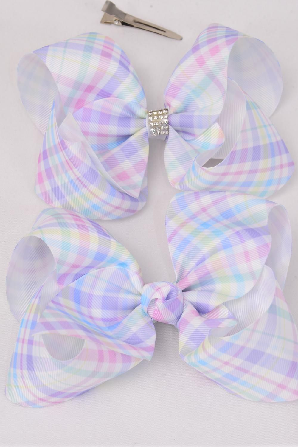 "Hair Bow Extra Jumbo Gingham Center Clear Stones Grosgrain Bow-tie/DZ **Alligator Clip** Size-6""x 5"" Wide,6 of each Pattern Asst,Clip Strip & UPC Code"