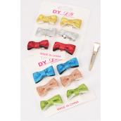 "Pet Hair Bow 72 pcs Metallic Bow-tie/DZ **Alligator Clip** Bow-1""x 5/8"" Wide,6 of each Color Asst,6 pcs per card,12 card=Dozen,Display Card & UPC Code,PVC Box"