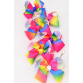 "Hair Bow Jumbo 2 tone Tiedye Rainbow Grosgrain Bow-tie Multi/DZ **Alligator Clip** Size-6""x 5"" Wide,2 of each Color Asst,Clip Strip & UPC Code"