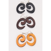 "Earrings Wood Spiral Symbol Natural Color Asst/DZ **Fish Hook** Size-1.75x 1"" Wide,4 of each Color Asst,Earring Card & OPP Bag & UPC Code -"