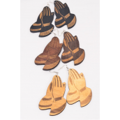 "Earrings Wood Praying Hand Natural Color Asst/DZ match 70024 **Fish Hook** Size-3.5""x 2"" Wide,4 of each Color Asst,Earring Card & OPP Bag & UPC Code -"