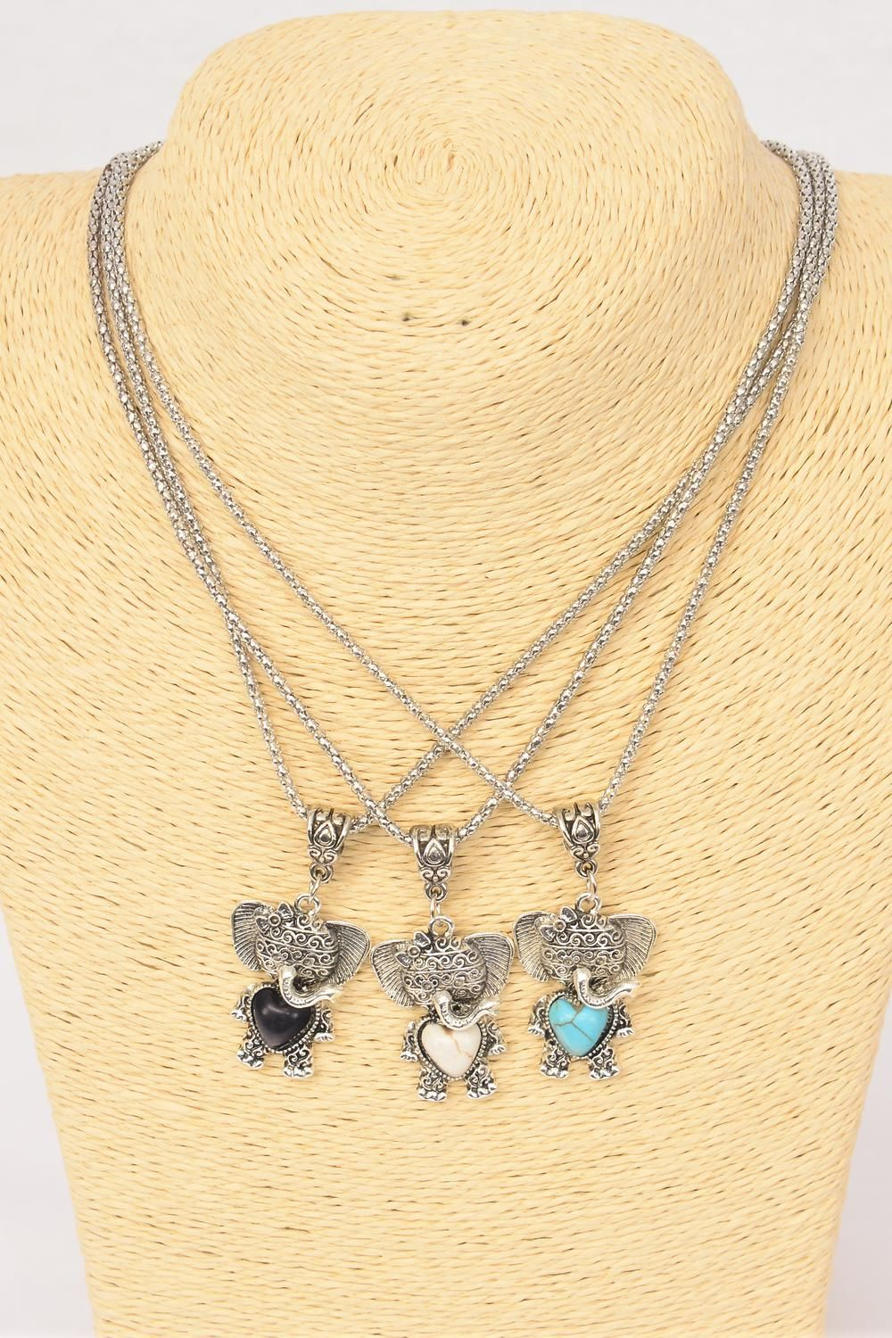 "Necklace Silver Chain Elephant Semiprecious Stone/DZ Pendant-1.25"" x 1."" Wide,Chain-18"" Extension Chain,4 Ivory,4 Black,4 Turquoise Asst,Hang Tag & OPP Bag & UPC Code"