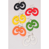 "Earrings Wood Spiral Symbol Multi Color Asst/DZ **Multi** Fish Hook,Size-1.75""x 1"" Wide,2 of each Color Asst,Earring Card & OPP Bag & UPC Code -"