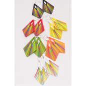 "Earrings Wood Contemporary Color Asst/DZ **Fish Hook** Size-3.25""x 1.75"" Wide,2 of each Color Asst,Earring Card & OPP Bag & UPC Code -"