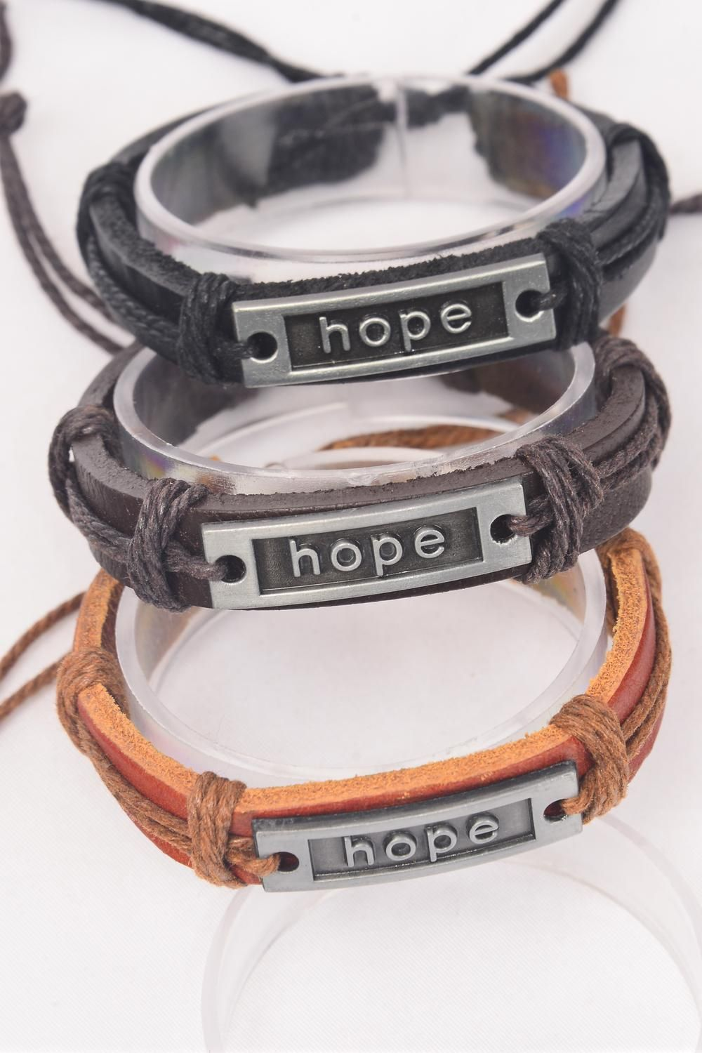 Bracelet Real Leather Band Hope Silver/DZ **HOPE** Unisex,Adjustable,4 of each Color Mix,Individual Hang tag & OPP Bag & UPC Code