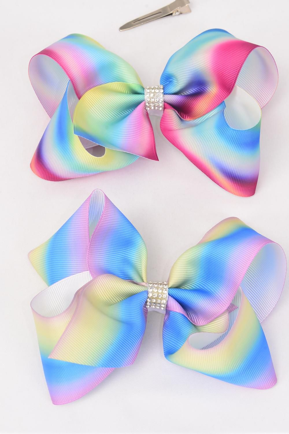"Hair Bow Jumbo Tiedye Grosgrain Bow-tie Pastel/DZ **Alligator Clip** Size-6""x 5"" Wide,6 of each Pattern Mix,Clip Strip & UPC Code"