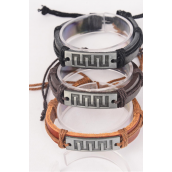 Bracelet Real Leather Band /DZ **Unisex** Adjustable,4 of each Color Mix,Individual Hang tag & OPP Bag & UPC Code
