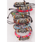 Bracelet Leather Cross & Macrame Wrap Mix Adjustable/DZ **Unisex** Adjustable,2 of each Color Mix,Hang tag & OPP Bag & UPC Code