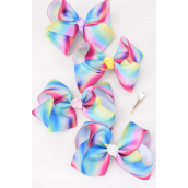 "Hair Bow Jumbo Tiedye Grosgrain Bow-tie Pastel/DZ **Pastel** Size-6""x 5"" Wide,Alligator Clip,3 of each Color Asst,Clip Strip & UPC Code"