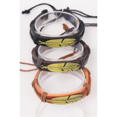 Bracelet Real Leather Feather/DZ **Unisex** Adjustable,3 of each Color Asst,Hang Tag & OPP Bag & UPC Code
