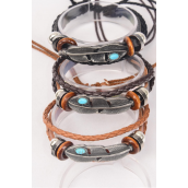 Bracelet Real Leather Band & Feather Triple Strand/DZ **Unisex** Adjustable,4 of each Pattern Mix,Individual Hang tag & OPP Bag & UPC Code