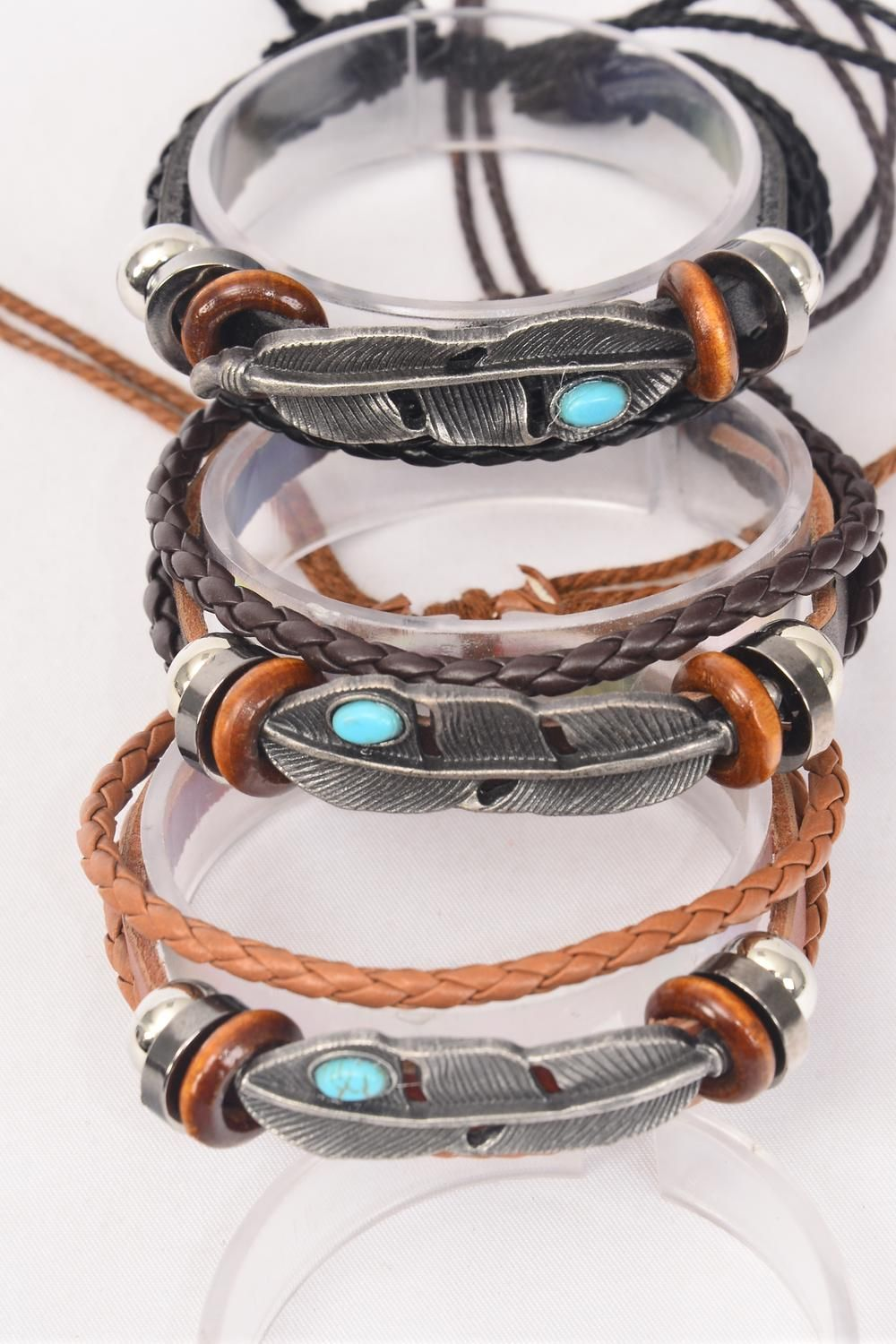 Bracelet Real Leather Band & Feather Triple Strand/DZ match 03104 **Unisex** Adjustable,4 of each Color Mix,Individual Hang tag & OPP Bag & UPC Code