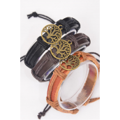 Bracelet Real Leather Tree of Life Antique Gold/DZ **UNISEX** Adjustable,4 of each Color Asst,Hang Tag & OPP Bag & UPC Code
