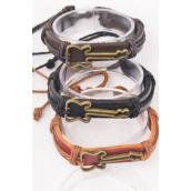Bracelet Real Leather Side Ways Guitar /DZ **Unisex** Adjustable,4 of each Color Asst,Hang Tag & OPP Bag & UPC Code