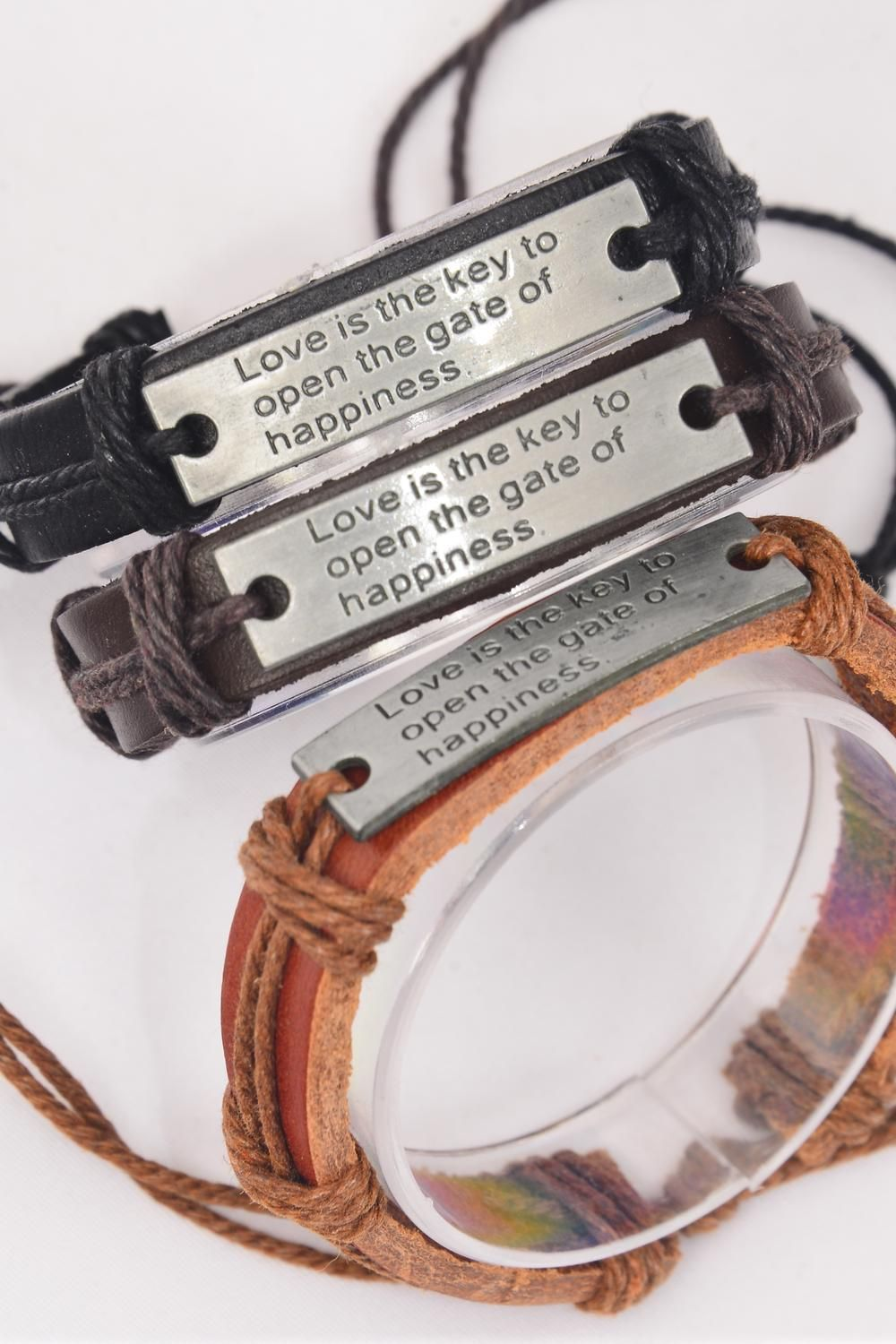 Bracelet Real Leather Band Silver  Love is the Key to Open The Gate of Happiness Silver/DZ **Silver** Unisex,Adjustable,4 of each Color Mix,Individual Hang tag & OPP Bag & UPC Code