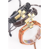 "Bracelet Real Leather Band Sideways Cross/DZ **Unisex** Cross Size-1.5""x 0.75"" Wide,4 of each Color Asst,Hang Tag & OPP Bag & UPC Code -"