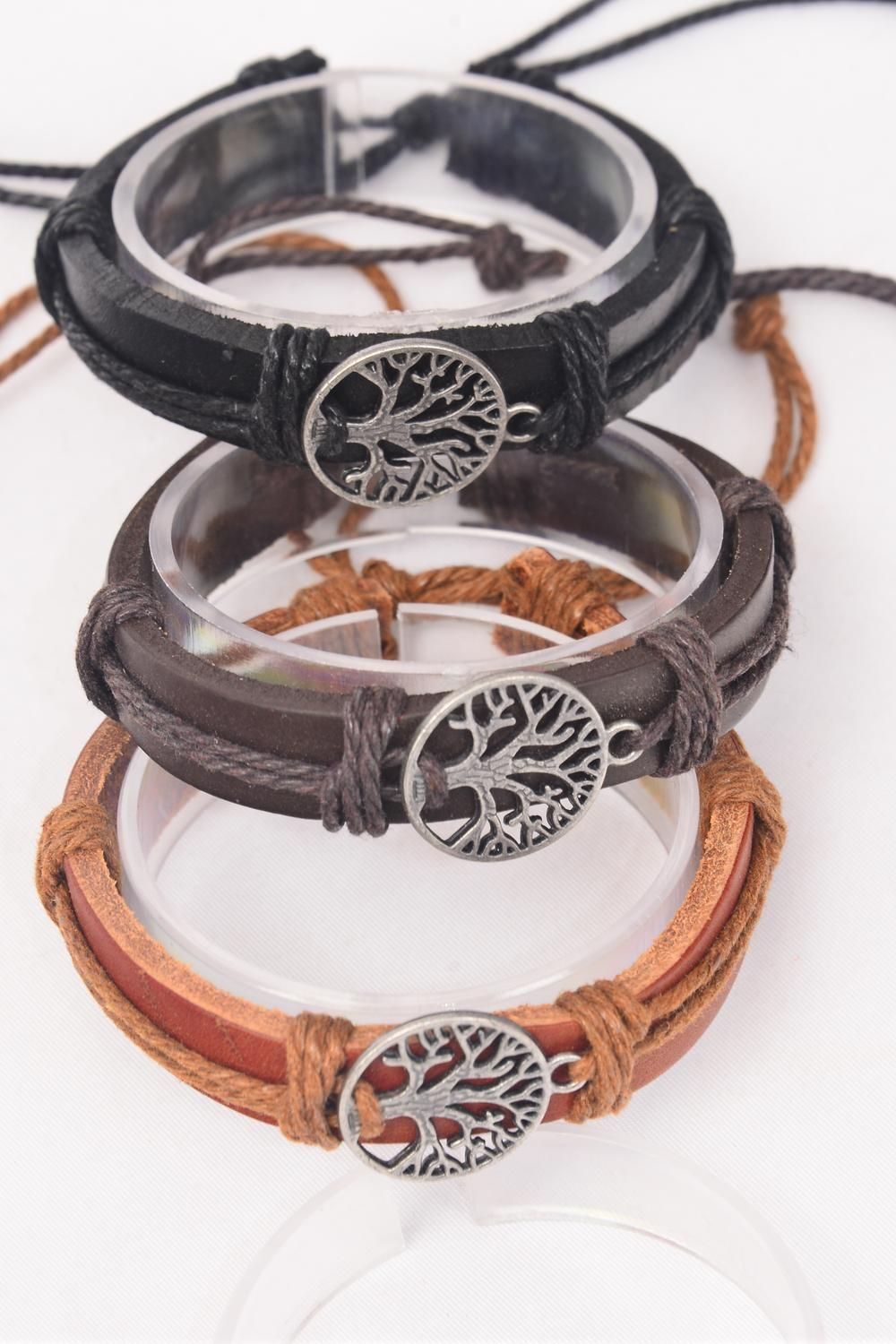 Bracelet Real Leather Tree of Life Silver/DZ **UNISEX** Adjustable,4 of each Color Asst,Hang Tag & OPP Bag & UPC Code