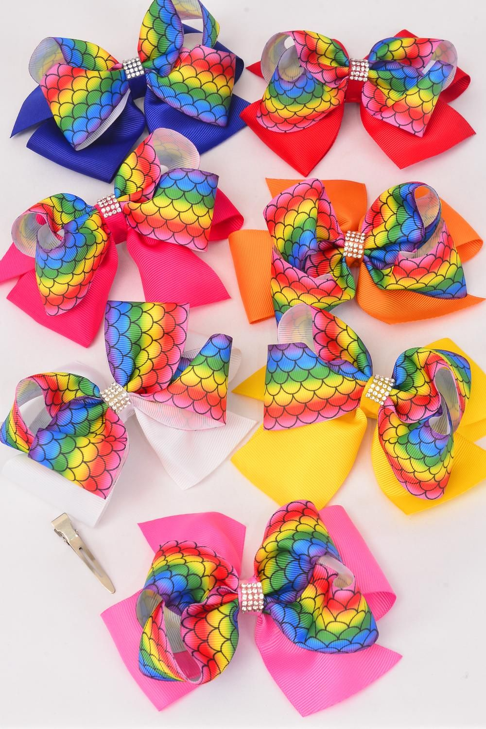 "Hair Bow Jumbo Double Layer Mermaid Scale Grosgrain Bow-tie/DZ **Multi** Size-6""x 5"" Wide,Alligator Clip,2 Hot Pink,2 Royal Blue,2 Yellow,2 Orange,2 White,1 Red,1 Fuchsia,7 Color mix,Clip Strip & UPC Code"