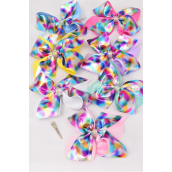 "Hair Bow Jumbo Metalloc Double Layer Pastel Rainbow center Clear Rhinestone Bow Grosgrain Bow-tie/DZ **Pastel** Alligator Clip,Size-6"" x 6"" Wide,2 White,2 Fuchsia,2 Purple,2 Blue,2 Yellow,1 Orange,1 Lime, 7 Color Mix,Clip Strip & UPC Code"