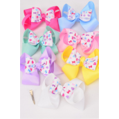 """Hair Bow Extra Jumbo Double Layer Fabric Pastel Hearts Grosgrain Bow-tie/DZ **Alligator Clip** Size-6""""x 5"""" Wide,2 White,2 Pink,2 Blue,2 Yellow,2 Lavender,1 Hot Pink,1 Mint Green,7 Color Asst,Clip Strip & UPC Code"""