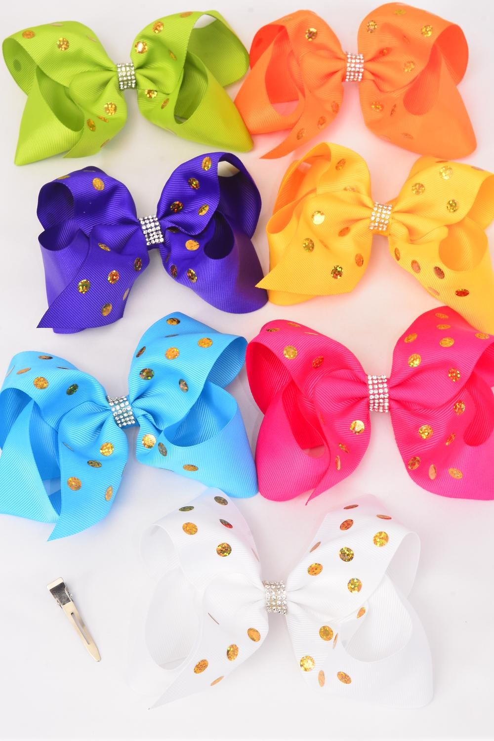 "Hair Bow Extra Jumbo Center Clear Stones Holographic Polkadots Citrus Grosgrain Bow-tie/DZ **Citrus** Alligator Clip,Size-6"" x 5"" Wide,2 White,2 Fuchsia,2 Purple,2 Blue,2 Yellow,1 Orange,1 Lime, 7 Color Mix,Clip Strip & UPC Code"