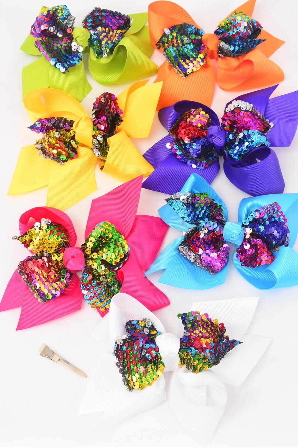 "Hair Bow Jumbo Mermaid Sequin Fabric 2 Tone Reversible Dragon Shiny Scale Sequin Grosgrain Bow-tie Multi/D **Multi** Alligator Clip,Size-6"" x 6"" Wide,2 White,2 Fuchsia,2 Purple,2 Blue,2 Yellow,1 Orange,1 Lime, 7 Color Mix,Clip Strip & UPC Code"