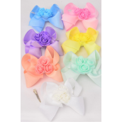 "Hair Bow Jumbo Center 3 Roses Pastel Grosgrain Bow-tie **Pastel** Alligator Clip,Bow-6""x 5"",2 White,2 Pink,2 Blue,2 Lavender,2 Yellow,1 Mint Green,1 Peach,7 Color Mix,Clip Strip & UPC Code"