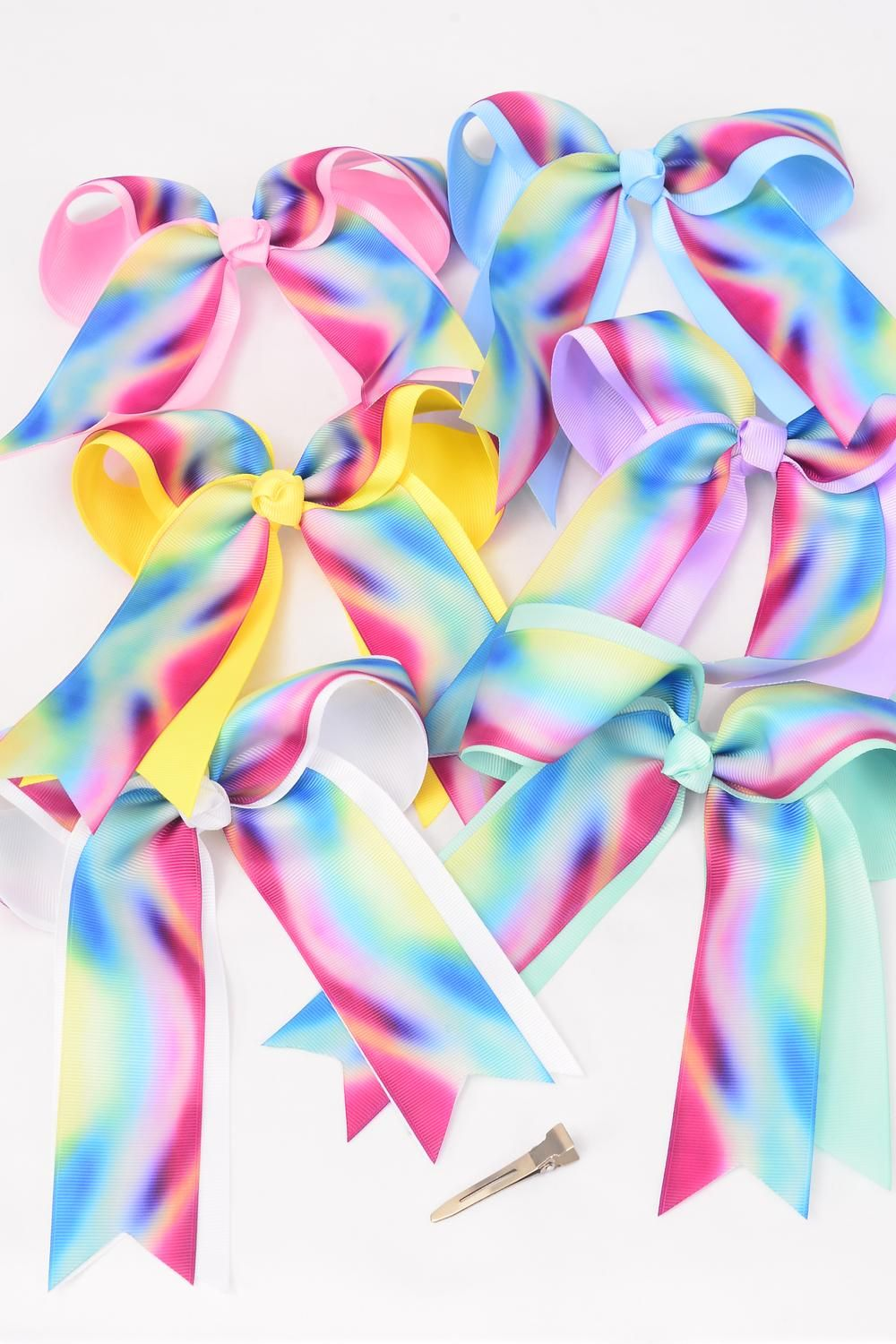 "Hair Bow Jumbo Long Tail Center Clear Stones Tiedye Grosgrain Bow-tie Pastel/DZ **Pastel** Size-7""x 6"",Alligator Clip,2 White,2 Baby Pink,2 Lavender,2 Blue,2 Yellow,1 Hot Pink,1 Mint Green,7 Color Asst,Clear Strip & UPC Code"