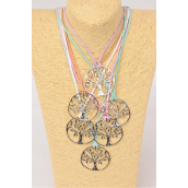 "Necklace Faux Cord String Tree Of Life Pendant/DZ Size-24"" Long,2 of each Color Asst,Hang Tag & OPP Bag & UPC Code"