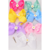 "Hair Bows Extra Jumbo Center Poly Daisy Flower Charm Pastel Grosgrain Bow-tie/DZ **Pastel** Alligator Clip,Size-6""x 5"" Wide,2 White,2 Pink,2 Yellow,2 Lavender,2 Blue,1 Hot Pink,1 Green,7 Color Mix,Clip Strip & UPC Code"