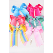 """Hair Bow Jumbo Long Tail Tiedye Grosgrain Bow-tie Pastel/DZ **Pastel** Size-7""""x 6"""",Alligator Clip,2 Fuchsia,2 Baby Pink,2 Blue,2 Yellow,2 Peach,1 Lavender,1 Mint Green,7 Color Asst,Clear Strip & UPC Code"""