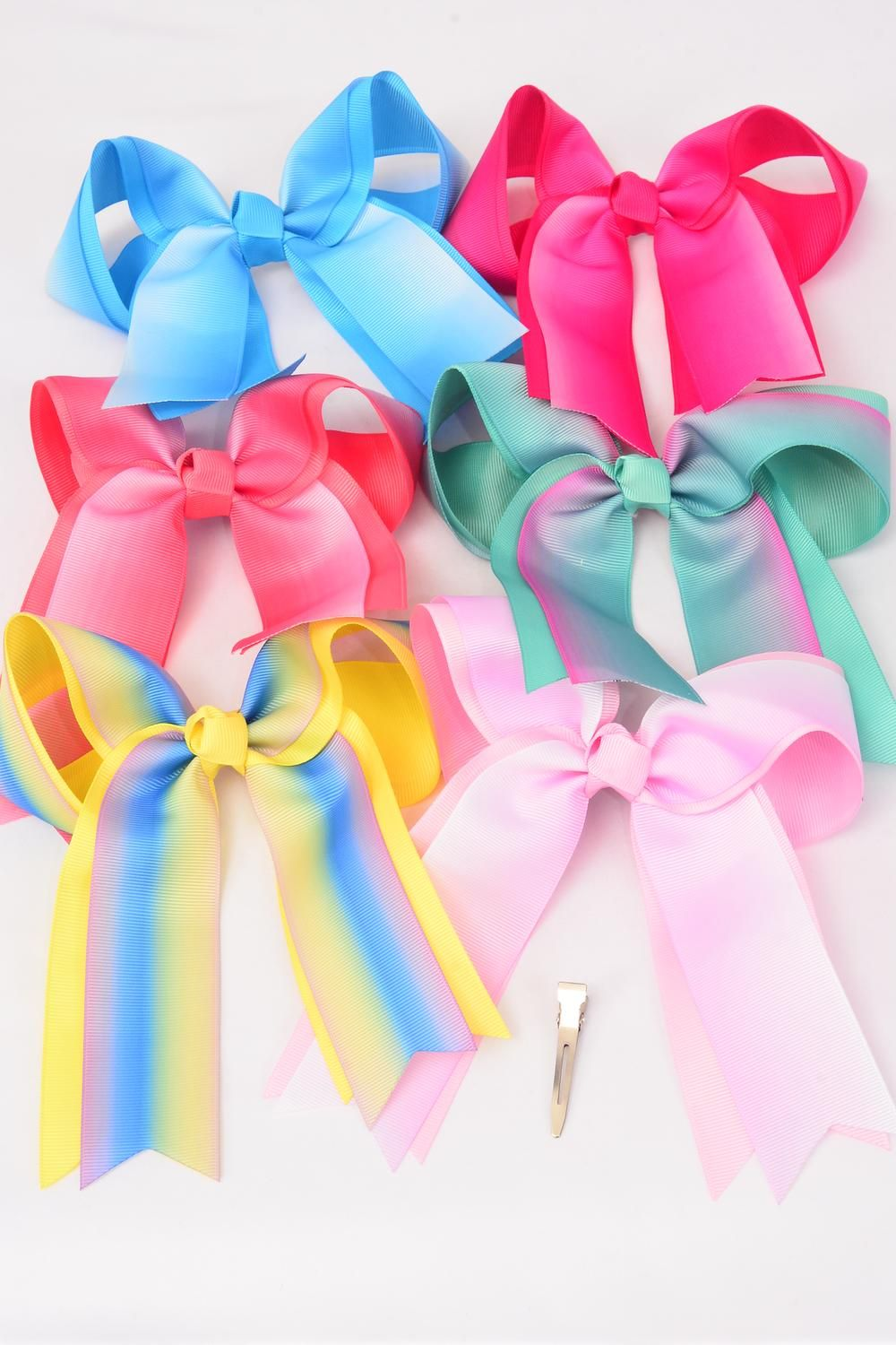 "Hair Bow Jumbo Long Tail Tiedye Grosgrain Bow-tie Pastel/DZ **Pastel** Size-7""x 6"",Alligator Clip,2 Fuchsia,2 Baby Pink,2 Blue,2 Yellow,2 Peach,1 Lavender,1 Mint Green,7 Color Asst,Clear Strip & UPC Code"