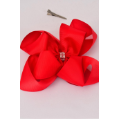 "Hair Bow Jumbo Winemill Cheer Bow Type Center Clear Stones Double Layer Red Grosgrain Bow-tie/DZ **Red** Alligator Clip,Size-7""x 7"" Wide,Clip Strip & UPC Code"