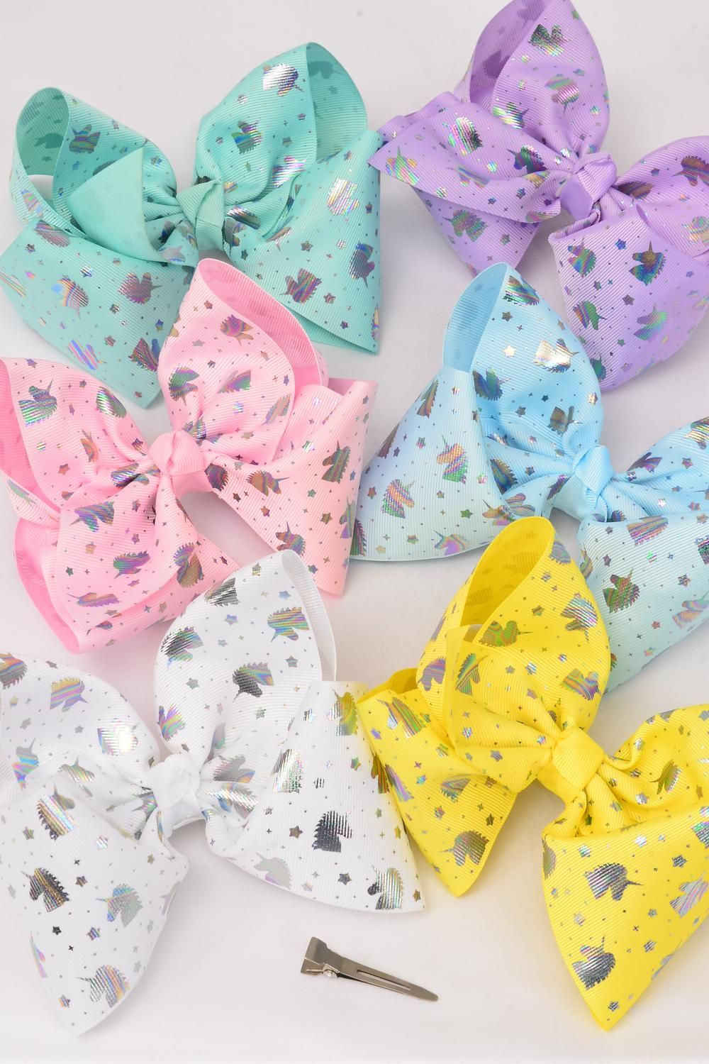 "Hair Bow Jumbo Cheer Type Bow Unicorn Alligator Clip  Grosgrain Bow-tie Pastel/DZ **Pastel** Size-8""x 7"" Wide,2 of each Color Asst,Alligator Clip,Clip Strip & UPC Code"
