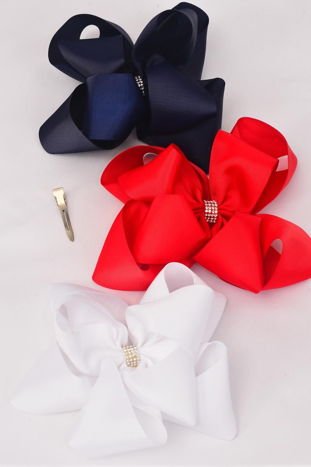"Hair Bow Jumbo Windmill Cheer Bow Type Center Clear Stones Double Layered Red White Navy Grosgrain Bow-tie/DZ **Alligator Clip** Size-7""x 7"" Wide,4 of each Color Mix,Clip Strip & UPC Code"