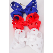 """Hair Bow Extra Jumbo Cheer Type Bow Cut Out Star Patriotic Grosgrain Bow-tie/DZ **Alligator Clip** Bow-8""""x 7"""" Wide,4 White,4 Red,4 Blue,3 Color Mix,Clip Strip & UPC Code"""