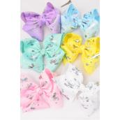 "Hair Bow Jumbo Cheer Type Bow Unicorn Alligator Clip  Grosgrain Bow-tie Pastel/DZ **Pastel** Size-8""x 7"" Wide,2 of each Color Asst,Alligator Clip,Clip Strip & UPC Code"