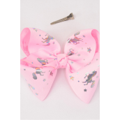 """Hair Bow Jumbo Cheer Type Bow Unicorn Grosgrain Bow-tie Baby Pink/DZ **Baby Pink** Size-8""""x 7"""" Wide,Alligator Clip,Clip Strip & UPC Code"""