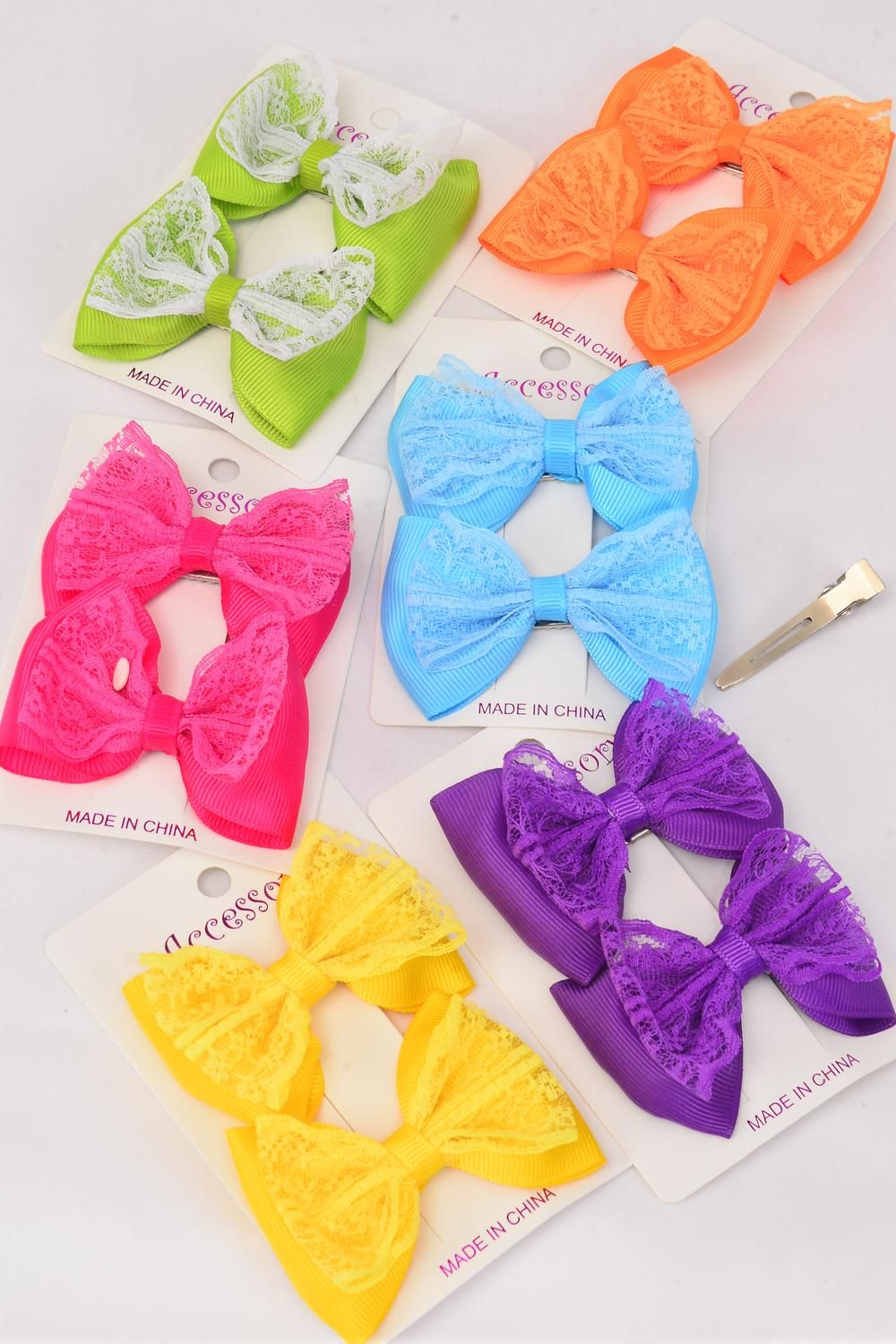 "Hair Bow 24 pcs Lace Grosgrain Bowtie Citrus/DZ **Citrus** Alligator Clip,Bow-3x 2"" Wide,2 of each Color Asst,2 pcs per card,12 card=Dozen,Display Card & UPC Code,PVC Box"