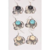 "Earrings Metal Antique Elephant Semiprecious Stone/DZ **Fish Hook** Size-1""x 1"" Wide,4 Black,4 Ivory,4 Turquoise Asst,Earring Card & OPP Bag & UPC Code"