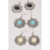 "Earrings Metal Antique Flower Round Dangle Semiprecious Stone/DZ **Fish Hook** Size-1.25"" Wide,4 Black,4 Ivory,4 Turquoise Asst,Earring Card & OPP Bag & UPC Code -"