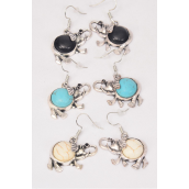 "Earrings Metal Antique Elephant Semiprecious Stone/DZ **Fish Hook** Size-1.25""x 1"" Wide,4 Black,4 Ivory,4 Turquoise Asst,Earring Card & OPP Bag & UPC Code"