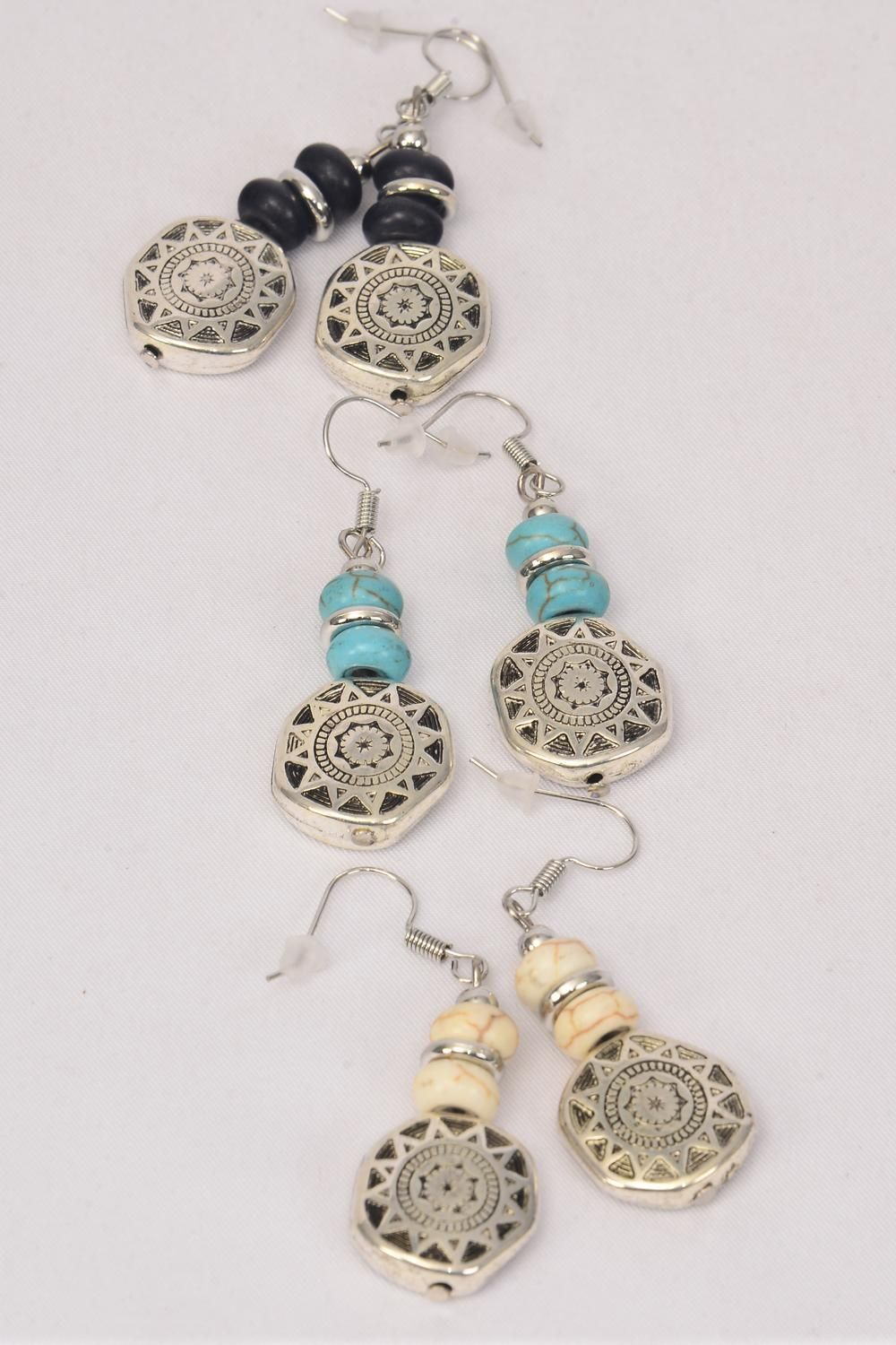 "Earrings Antique Aztec Semiprecious Stone/DZ **Fish Hook** Size-1.25""x 1"" Wide,4 Black,4 Ivory,4 Turquoise Asst,Earring Card & OPP Bag & UPC Code"